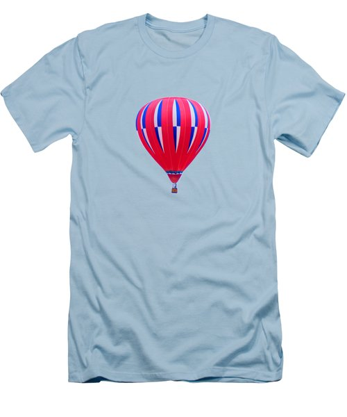 Hot Air Balloon - Red White Blue - Transparent Men's T-Shirt (Slim Fit) by Nikolyn McDonald