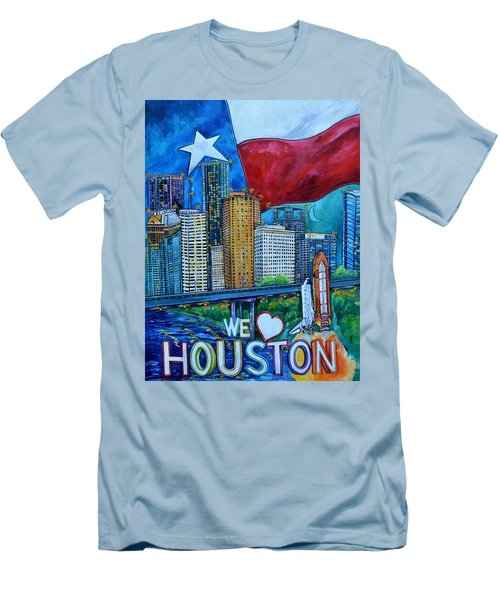 Houston Montage Men's T-Shirt (Slim Fit) by Patti Schermerhorn