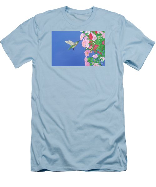 Hummingbird And Petunias Men's T-Shirt (Athletic Fit)
