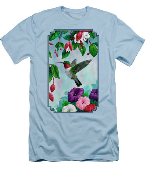 Hummingbird Greeting Card 1 Men's T-Shirt (Slim Fit) by Crista Forest