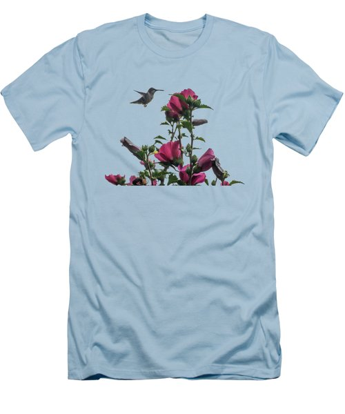 Hummingbird With Rose Of Sharon Men's T-Shirt (Slim Fit)