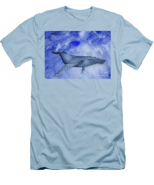 Humpback Yearling Under Our Boat Men's T-Shirt (Slim Fit) by Randy Sprout