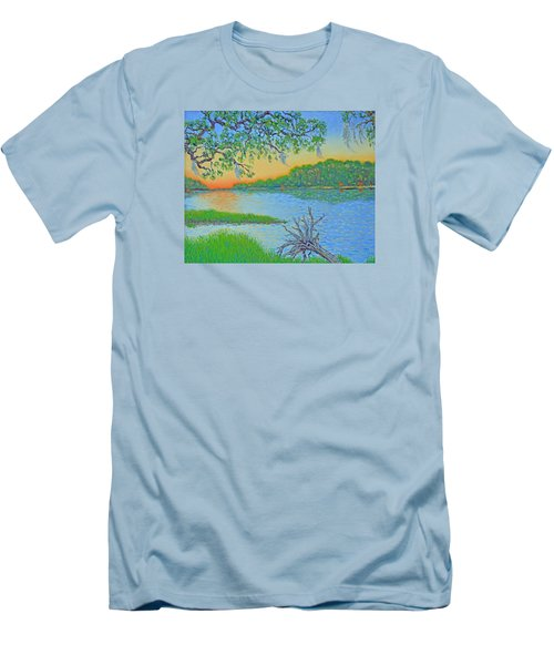 Men's T-Shirt (Slim Fit) featuring the painting Hunting Island Lagoon 2 by Dwain Ray