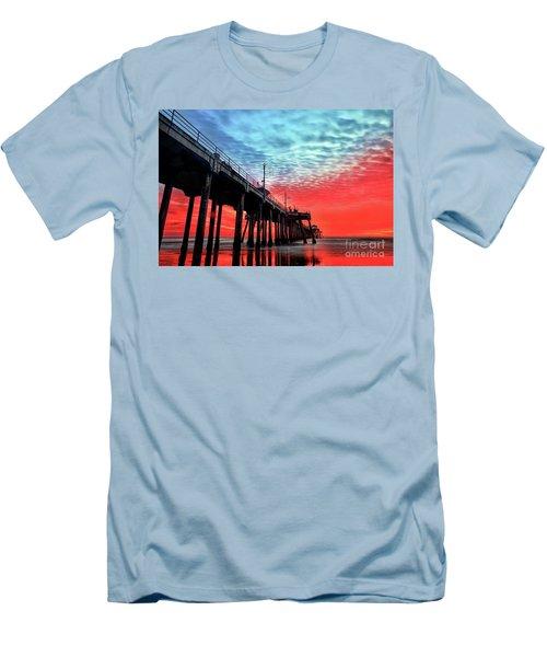 Huntington Beach Pier Sunset Men's T-Shirt (Athletic Fit)
