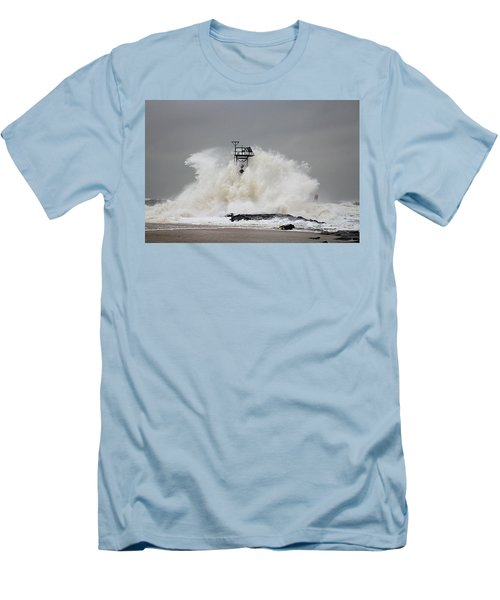 Hurricane Jose Wave At The Inlet Jetty Men's T-Shirt (Athletic Fit)
