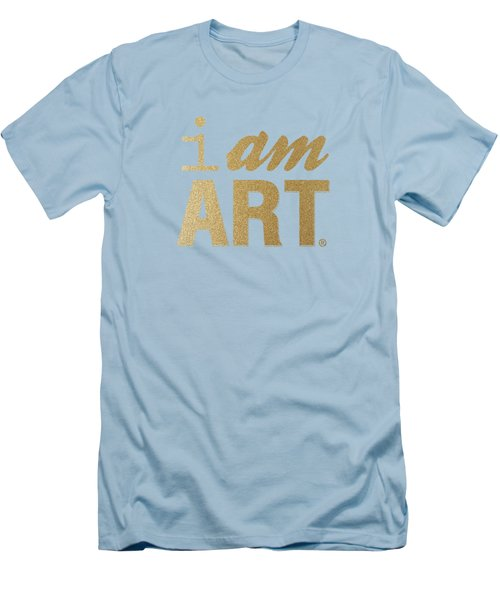 Men's T-Shirt (Slim Fit) featuring the mixed media I Am Art- Gold by Linda Woods