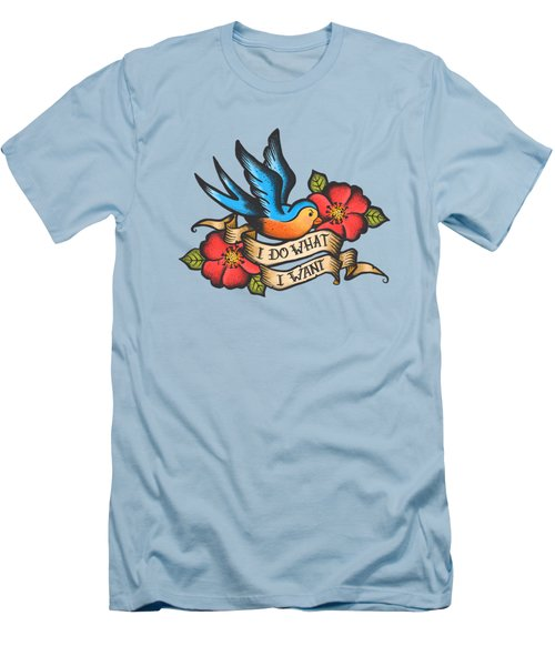 I Do What I Want Vintage Bluebird And Rose Tattoo Men's T-Shirt (Slim Fit) by Little Bunny Sunshine