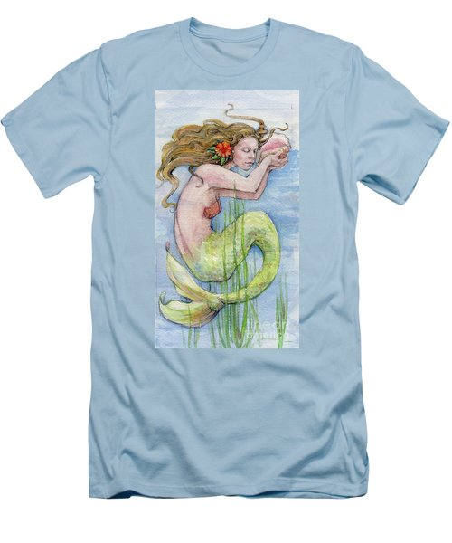 Men's T-Shirt (Slim Fit) featuring the painting Mermaid by Lora Serra