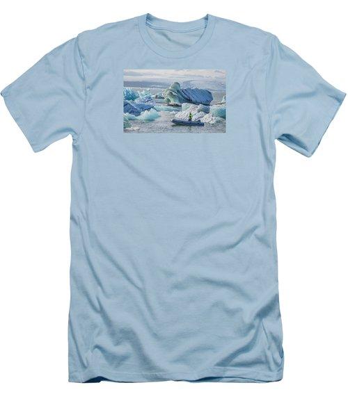 Icebergs On Jokulsarlon Lagoon In Iceland Men's T-Shirt (Slim Fit) by Venetia Featherstone-Witty