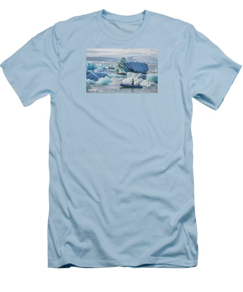 Icebergs On Jokulsarlon Lagoon In Iceland Men's T-Shirt (Athletic Fit)