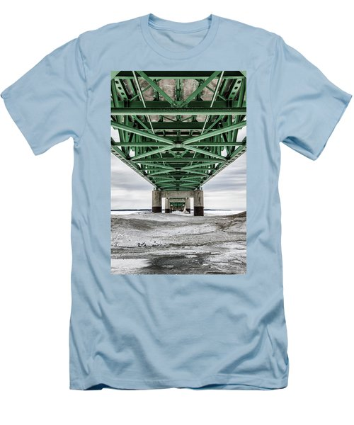 Men's T-Shirt (Slim Fit) featuring the photograph Icy Mackinac Bridge In Winter by John McGraw