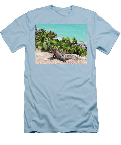 Men's T-Shirt (Slim Fit) featuring the photograph Iguana At Tulum by Roupen  Baker