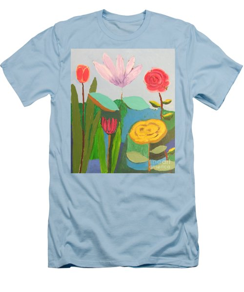 Men's T-Shirt (Athletic Fit) featuring the painting Imagined Flowers One by Rod Ismay