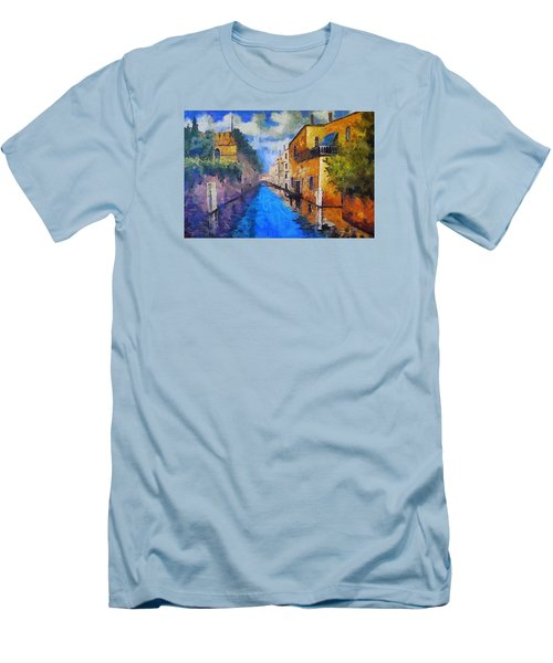 Impressionist D'art At The Canal Men's T-Shirt (Slim Fit) by Mario Carini