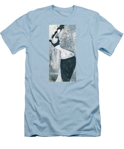 Men's T-Shirt (Slim Fit) featuring the painting Indian Lady by Maya Manolova