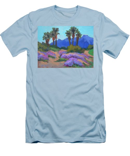 Men's T-Shirt (Slim Fit) featuring the painting Indian Wells Verbena by Diane McClary