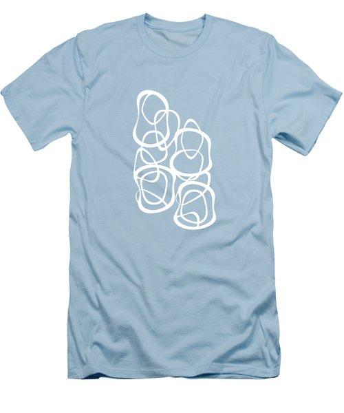 Interlocking - White On Aqua - Pattern Men's T-Shirt (Slim Fit) by Menega Sabidussi