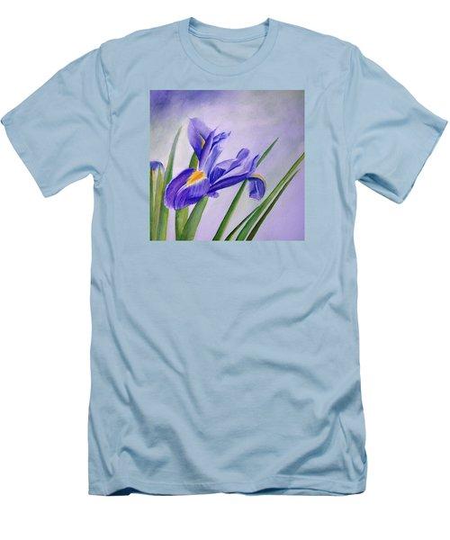 Men's T-Shirt (Slim Fit) featuring the painting Iris by Allison Ashton