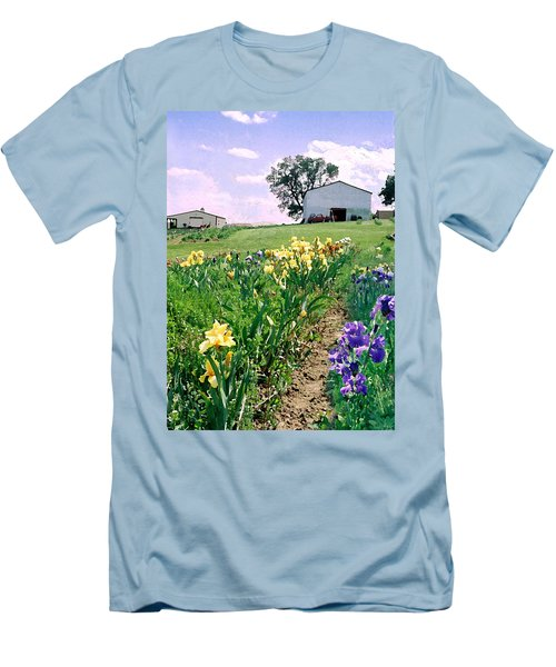 Men's T-Shirt (Slim Fit) featuring the photograph Iris Farm by Steve Karol