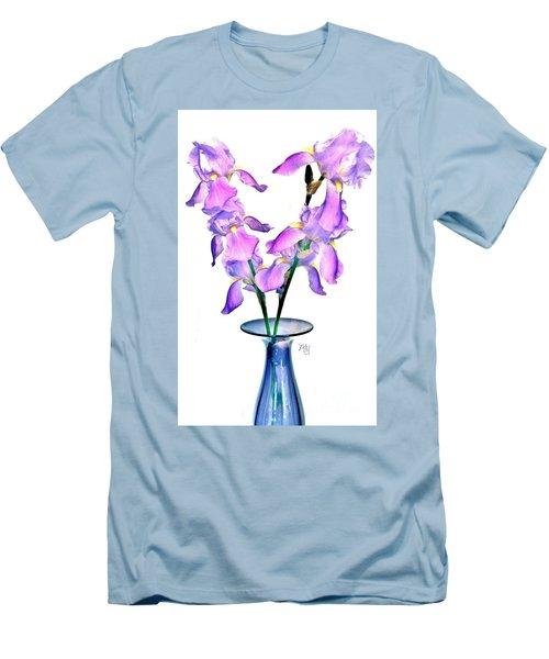 Iris Still Life In A Vase Men's T-Shirt (Slim Fit) by Marsha Heiken