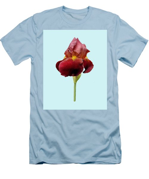 Men's T-Shirt (Slim Fit) featuring the photograph Iris Vitafire Blue Background by Paul Gulliver