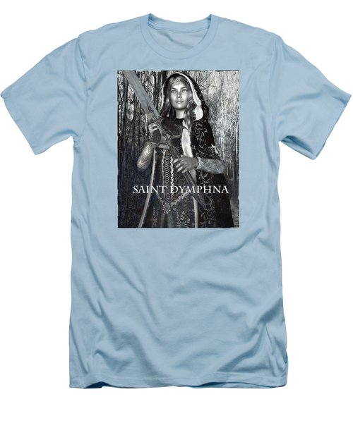 Men's T-Shirt (Slim Fit) featuring the painting Irish Light Saint Dymphna by Suzanne Silvir