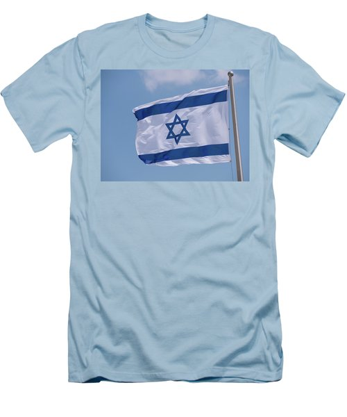 Israeli Flag In The Wind Men's T-Shirt (Athletic Fit)