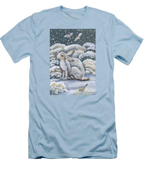Jackrabbit And Horned Larks Men's T-Shirt (Slim Fit) by Dawn Senior-Trask