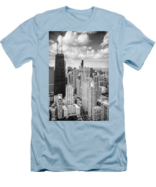 John Hancock Building In The Gold Coast Black And White Men's T-Shirt (Slim Fit) by Adam Romanowicz
