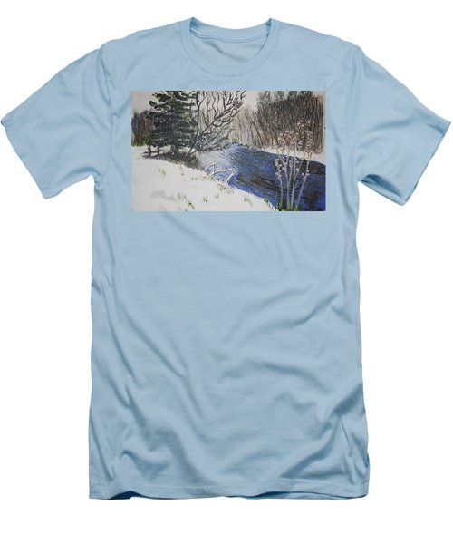 Men's T-Shirt (Slim Fit) featuring the painting Johnson Vermont In Spring Snow Storm by Donna Walsh