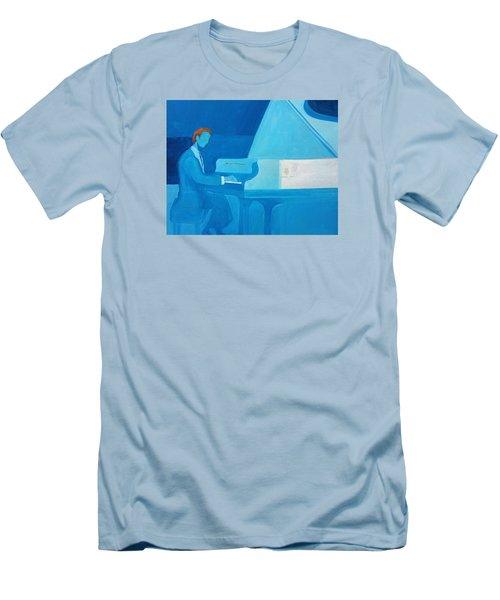 Justin Levitt Steinway Piano Blue Men's T-Shirt (Athletic Fit)