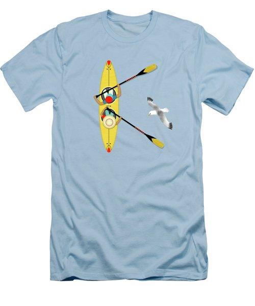 K Is For Kayak And Kittiwake Men's T-Shirt (Slim Fit) by Valerie Drake Lesiak