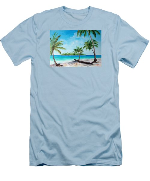 Kayak On The Beach Men's T-Shirt (Slim Fit) by Lloyd Dobson