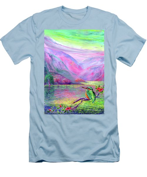 Kingfisher, Shimmering Streams Men's T-Shirt (Athletic Fit)