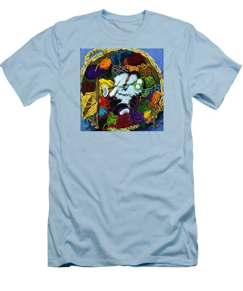 Men's T-Shirt (Slim Fit) featuring the painting Knitter's Helper - Cat Painting by Linda Apple