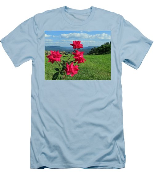 Men's T-Shirt (Athletic Fit) featuring the photograph Knockout Rose 2 by Aaron Martens