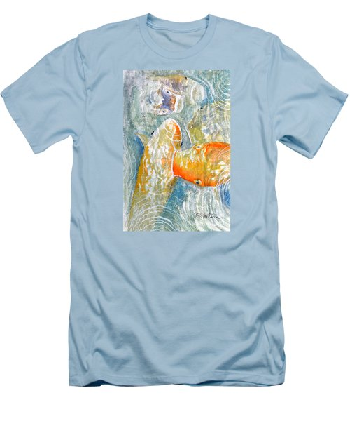 Men's T-Shirt (Slim Fit) featuring the painting Koi Carp Feeding Frenzy by Bill Holkham