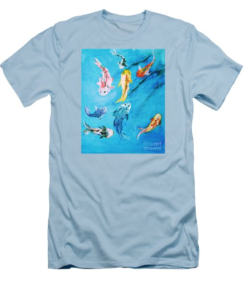 Men's T-Shirt (Athletic Fit) featuring the painting Swimming Koi Fish From The Water Series by Donna Dixon