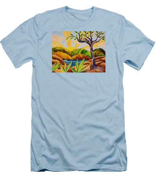 Men's T-Shirt (Slim Fit) featuring the painting Kookaburra Landscape by Judy Via-Wolff