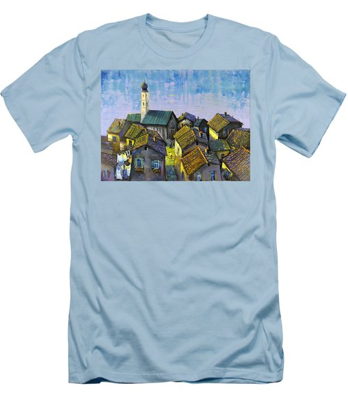 Men's T-Shirt (Slim Fit) featuring the painting Lago   Caldonazza by Mikhail Zarovny
