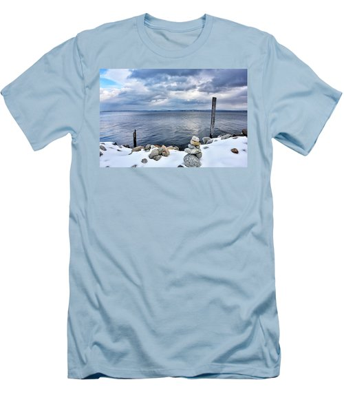 Men's T-Shirt (Slim Fit) featuring the photograph Lake Champlain During Winter by Brendan Reals