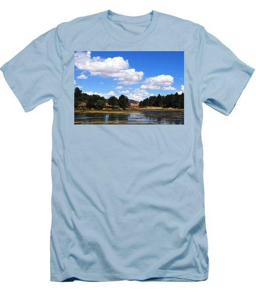 Lake Cuyamac Landscape And Clouds Men's T-Shirt (Slim Fit) by Matt Harang