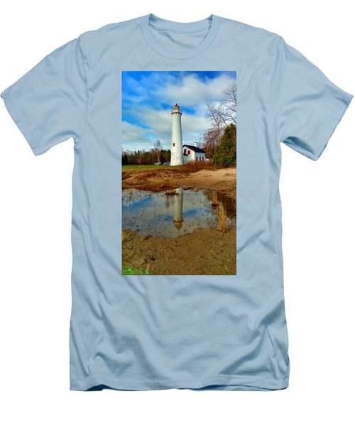 Lake Huron Lighthouse Men's T-Shirt (Slim Fit) by Michael Rucker