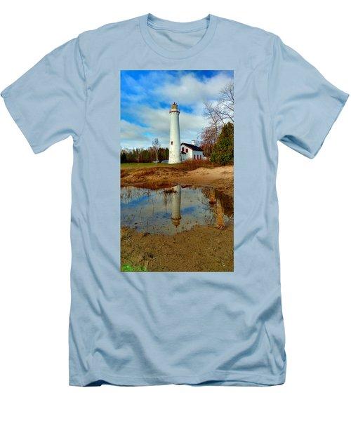 Lake Huron Lighthouse Men's T-Shirt (Athletic Fit)