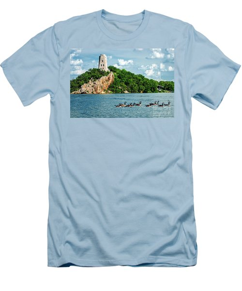 Lake Murray's Gaggle Of Geese Men's T-Shirt (Slim Fit) by Tamyra Ayles