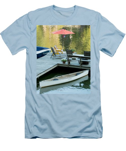 Men's T-Shirt (Slim Fit) featuring the photograph Lake-side Dock by E Faithe Lester