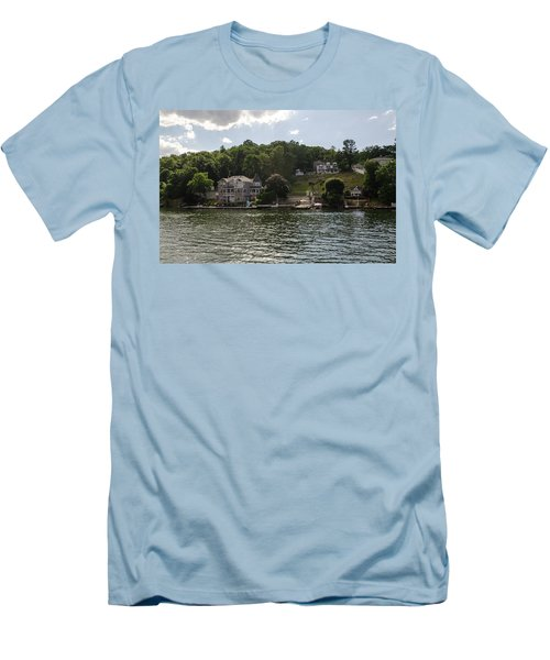 Lakeside Living Hopatcong Men's T-Shirt (Slim Fit) by Maureen E Ritter