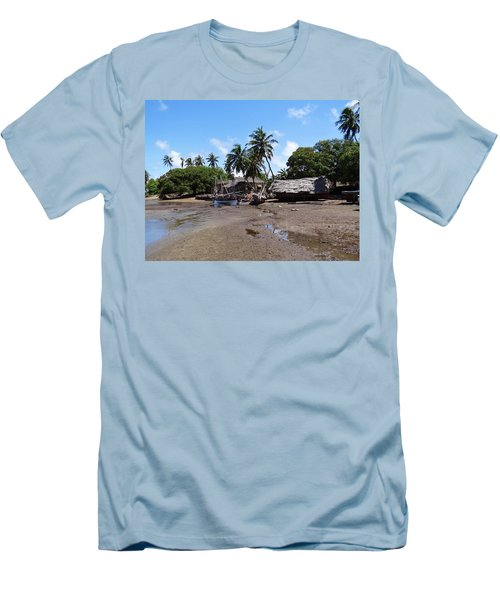 Lamu Island - Wooden Fishing Dhows And Village At Rear 1 Men's T-Shirt (Athletic Fit)