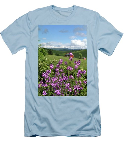 Men's T-Shirt (Slim Fit) featuring the photograph Landscape With Purple Flowers by Emanuel Tanjala