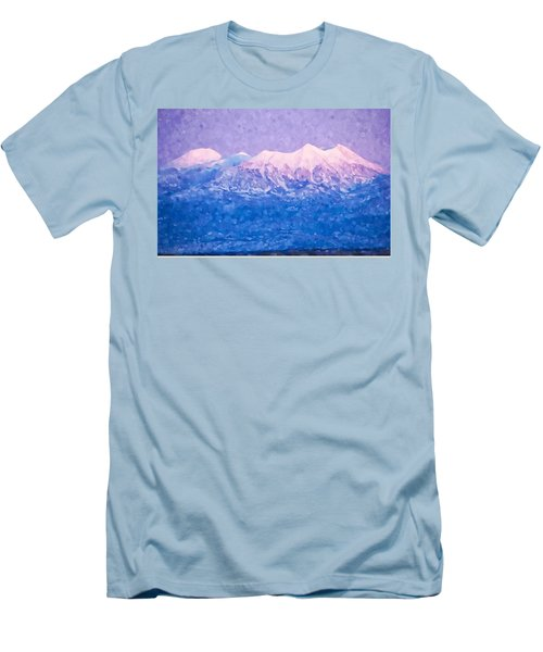 Last Light On Mount Peale From Buck Canyon Overlook Men's T-Shirt (Slim Fit) by Kai Saarto